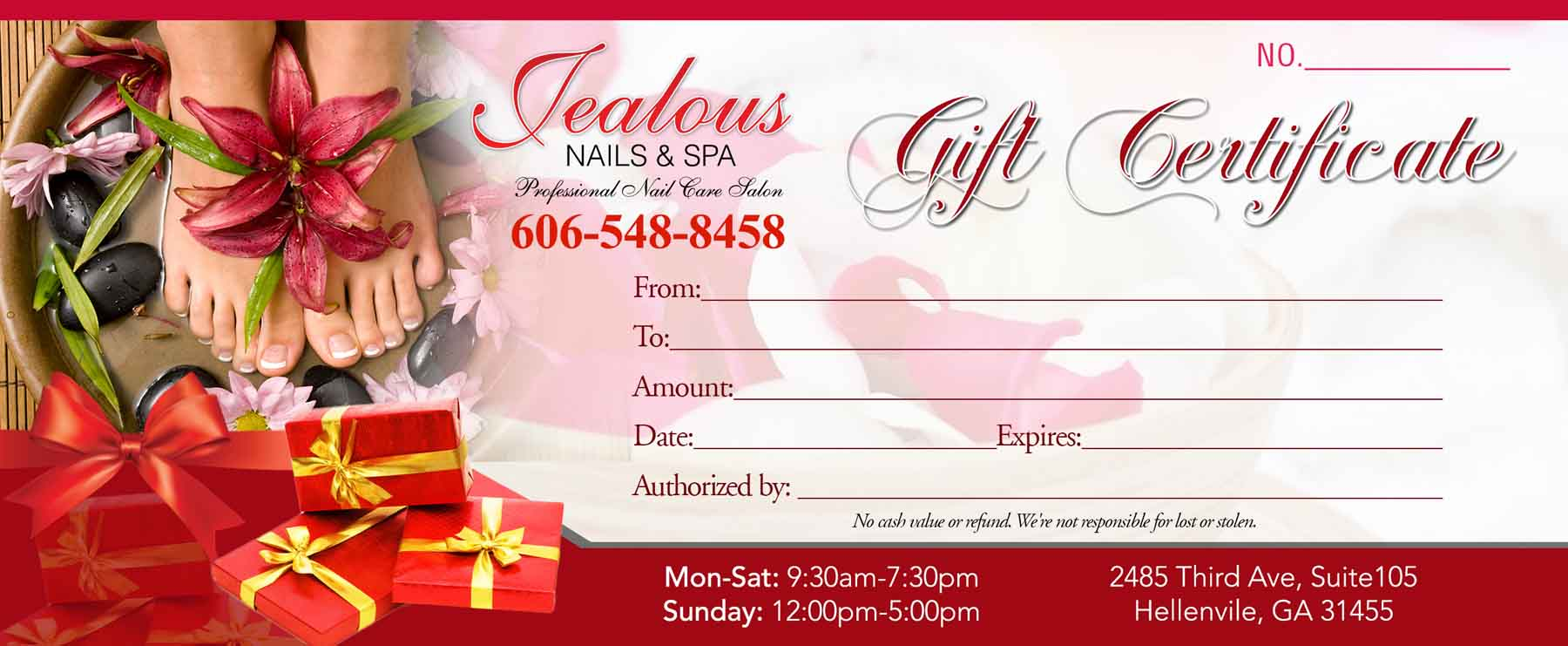 Gift Certificates Templates VN PRINTING - Nail salon gift certificate template